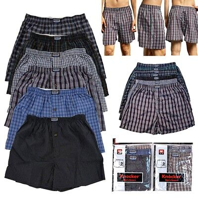 3, 6, 12 Men Knocker Boxer Trunk Plaid Shorts Underwear Lot Cotton Briefs S-3XL