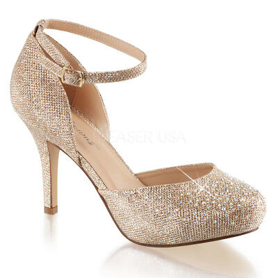 Fabulicious COVET-03 Nude Glitter Hidden Platform Ankle Strap d'Orsay Pump Heels