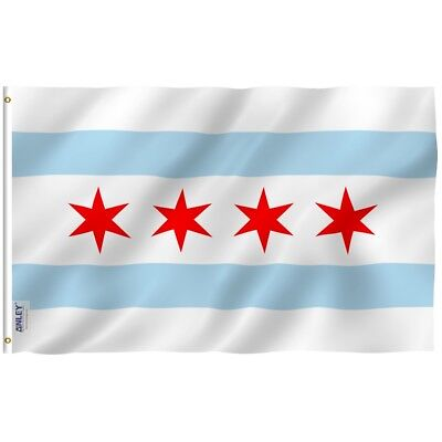 ANLEY City of Chicago Flag Chicago Illinois IL Banner 3x5 Foot Polyester Flags