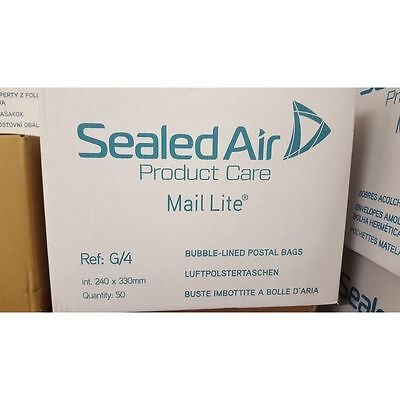 100 X G/4 MAIL LITE SEALED AIR PADDED ENVELOPES - WHITE A4 SIZE (230 x 325mm)