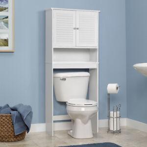 Bathroom E Saver Over The Toilet Shelved Storage Cabinet Organizer White New