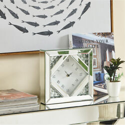 TABLE DESK OR WALL CLOCK MIRRORED MODERN SQUARE ROMAN NUMERALS CRYSTALS GLASS