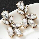 J Crew White Crystal Cluster Gold Stud Dangle Earrings NWD