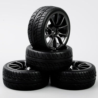 4Pcs 1:10 RC On Road Racing Car Black Wheel &Rubber Tires Foam Insert 12mm Hex