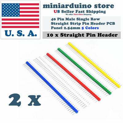 10pcs 40pin Male Single Row Straight Strip Pin Header Pcb Panel 2.54mm 5 Colors