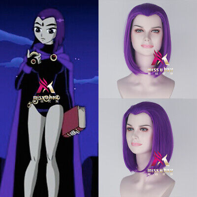 Teen Titans Raven Medium Straight Purple Color Halloween Party Cosplay Wigs