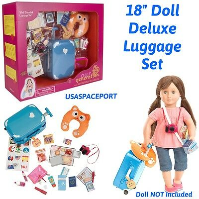 "18"" Doll Deluxe LUGGAGE SET Suitcase For American Girl Boy"