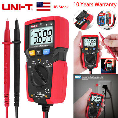 Uni-t Ut125c Handheld Digital Multimeter Auto Range Ohm Amp Acdc Voltage Tester