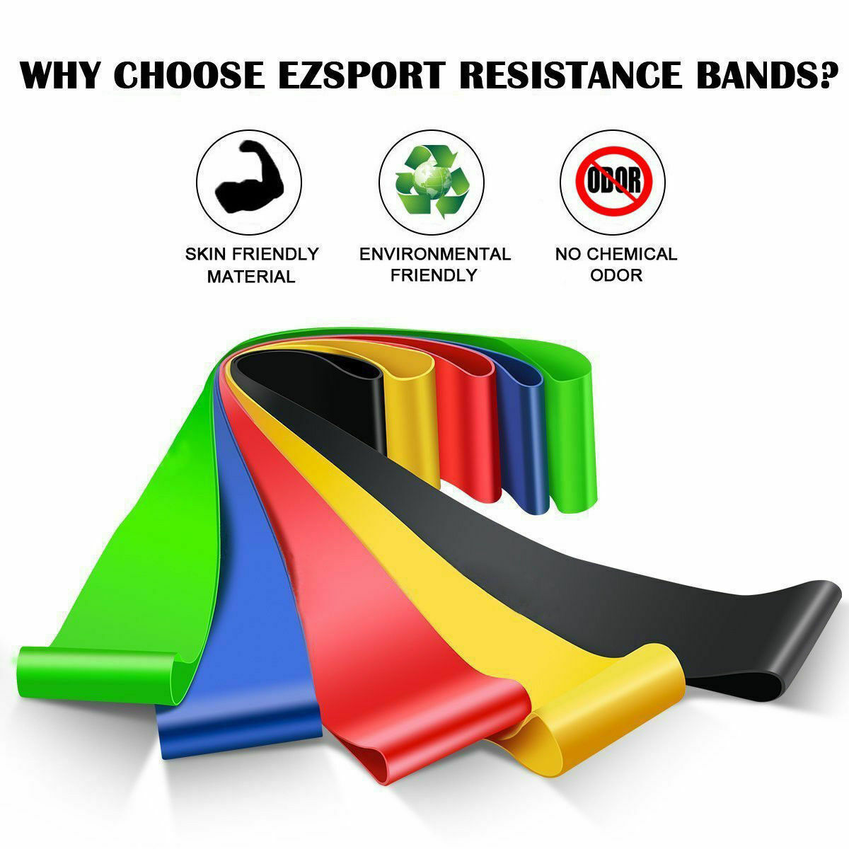 Resistance Bands Loop Set of 5 Exercise Workout CrossFit Fitness Yoga Booty Band Fitness Equipment & Gear