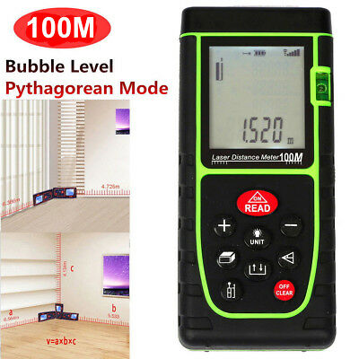 Handheld 100m 328ft Digital Lcd Laser Distance Meter Range Finder Measure Tool