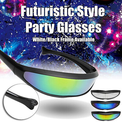 Party Glasses Novelty Futuristic Cyclops Mirrored Sunglasses Monoblock Alien  - Novelty Glasses