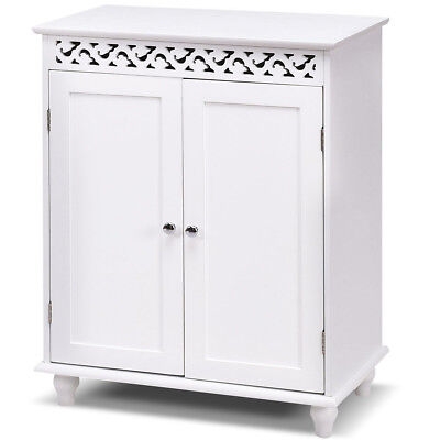 White Wooden Bathroom Floor Cabinet Storage Cupboard 2 Shelves Free Standing