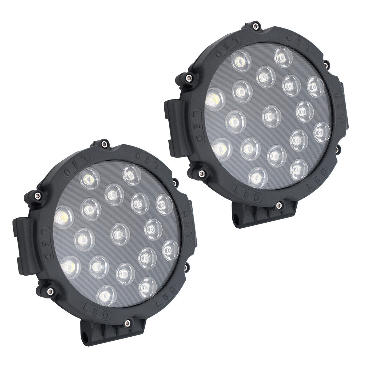 Details about  /2X 7inch 51W Led Work Lights Offroad Bumper Red Pods Round Tractor ATV 4WD SUV