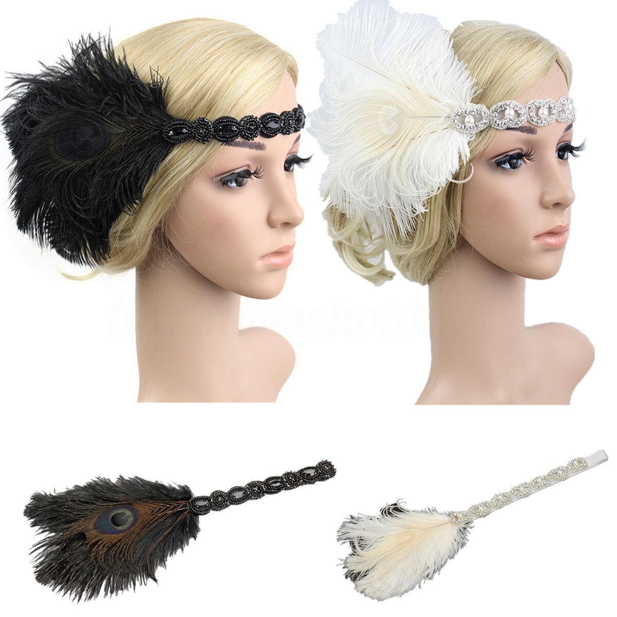 Feder Stirnband Haarband 1920s 20er Charleston Gatsby Kopfband Kopfschmuck Damen