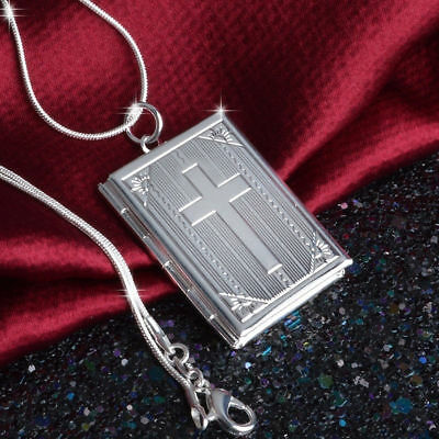 925 Sterling Silver Christian Jesus Cross Crucifix Bible Book Locket Necklace