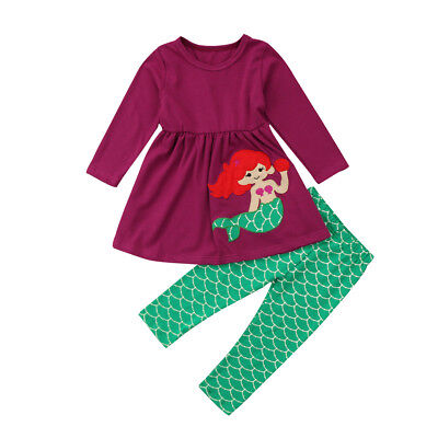 NWT Mermaid Girls Purple Long Sleeve Tunic Green Fish Scale Leggings Outfit