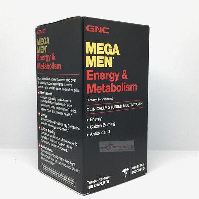 GNC Mega Men Energy & Metabolism 180 Caplets Free Shipping