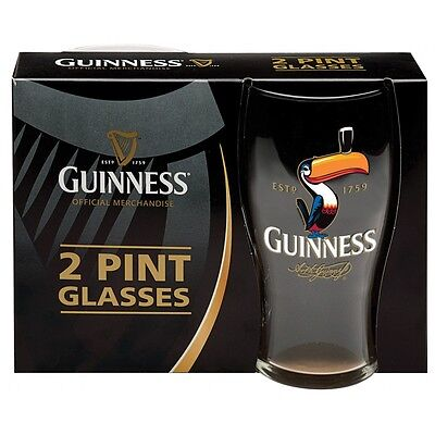 Guinness Official Merchandise 2 Pint Glasses Toucan Design  Pack Set Of 2  New