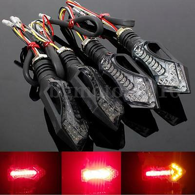 4x Motorcycle LED Turn Signal Indicator Blinker Brake Light Red Amber US