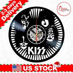 Kiss Vinyl Record Clock Band Rock Memorabilia Metal Wall Decor Christmas Gifts