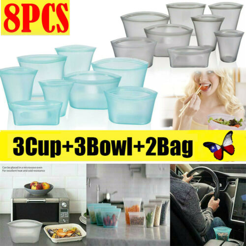 8X/Set Silicone Food Storage Bags Zip Leakproof Containers P