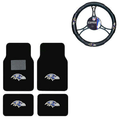 New 5pc NFL Baltimore Ravens Car Truck Floor Mats & Steering Wheel Cover Set