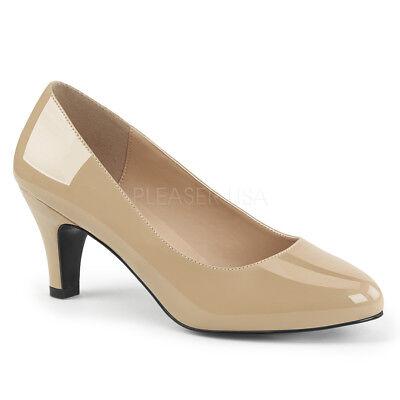 Pleaser DIVINE-420 Women's Casual Classic Cream Patent Block Heels Pump Sandals