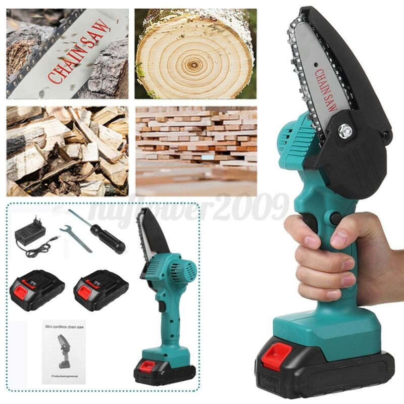 US 1500W Cordless Electric Chain Saw Onehand Woodworking Wood Pruning Cutter
