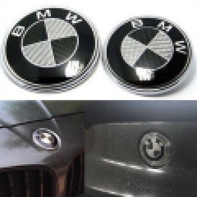 For BMW Carbon Fiber Black Silver82mm&74mm Hood Trunk Badge Emblem Free Shipping