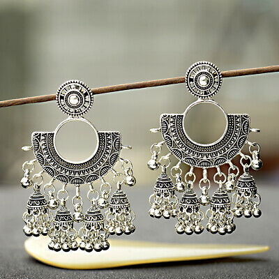- Indian Vintage Bollywood Oxidized SilverPlated Traditional Jhumka Jhumki Earring