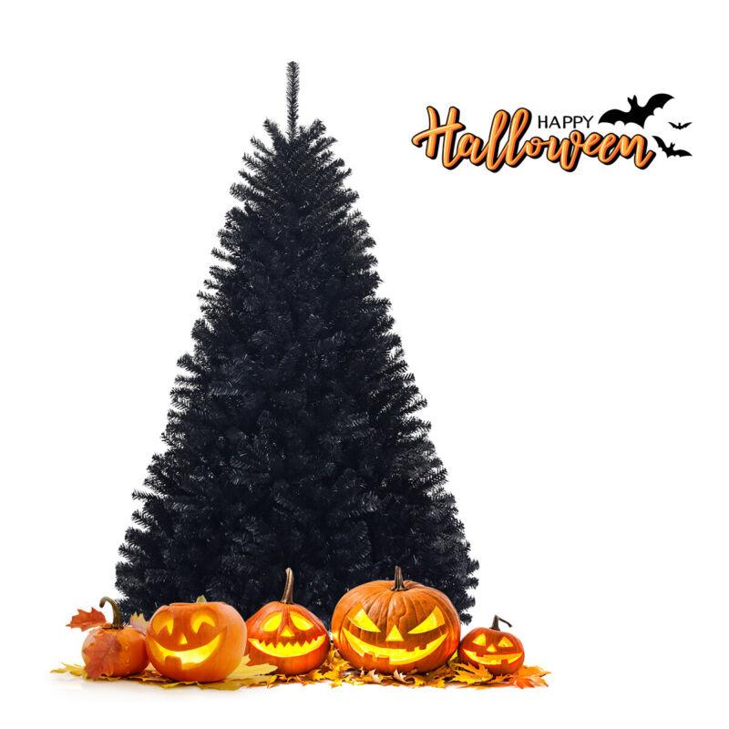 Topbuy 6Ft Artificial Christmas Tree Halloween Hinged Spruce Full Tree Black