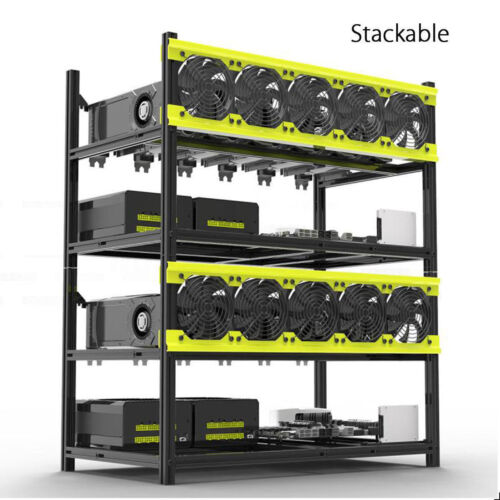 Veddha 8 GPU Mining Frame Aluminum Open Air Frame Mining Rig Case Stackable