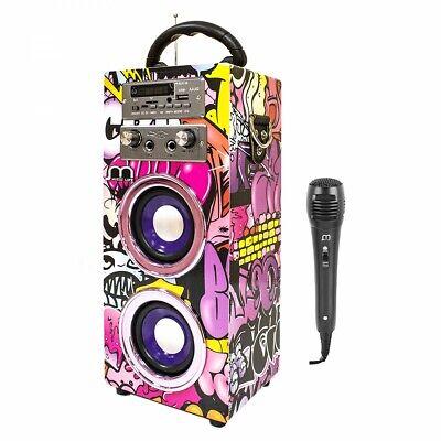 Altavoz Bluetooth Portatil Karaoke Potente con Micrófono Equipo de Sonido Radio