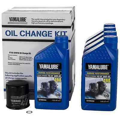 YAMAHA OEM F150 Outboard Oil Change Kit 5- Qt. 20W40 4M Filter LUB-MRNMR-KT-20