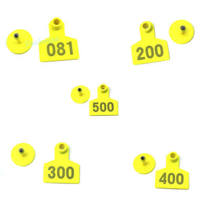 Yellow 001-500 Number Plastic Livestock Ear Tag Animal Tag For Goat Sheep Pig