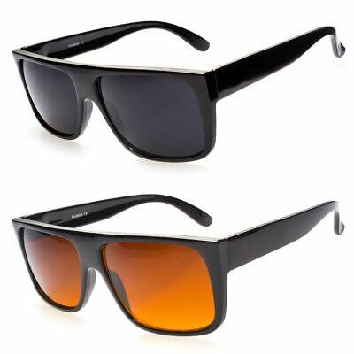 Men Celebrity Eyewear Flat Top Rectangular Sunglasses Black Lens Frame (Top Eyewear)