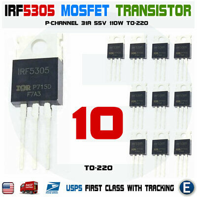 10pcs Irf5305 Irf5305pbf Mosfet Transistor P-channel 31a 55v 110w To-220
