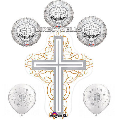 Baptism SIlver Foil / Mylar and Latex Balloons Valued Pack ( 6 Balloons ) - Silver Mylar Balloons