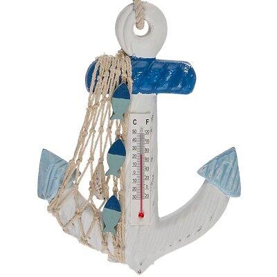 Holz Wandthermometer Anker maritime Deko Shabby Thermometer Bad Balkon Landhaus