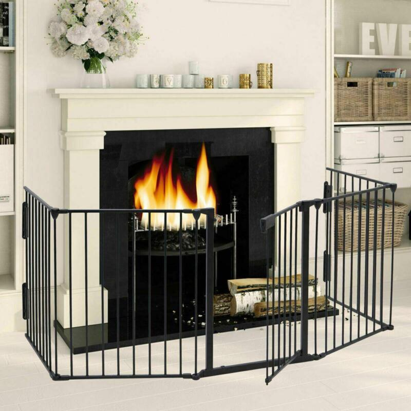 Baby Child Safety Gate Fire Gate Fireplace Pet Dog Cat Fence Steel & Plastic