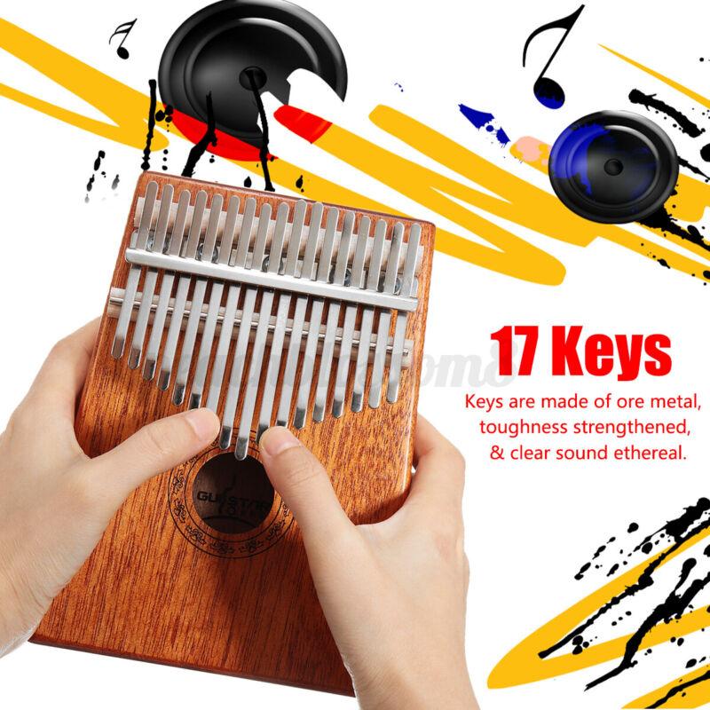 Mahogany Wood 17 Keys Kalimba Mbira Thumb Piano Finger Percussion With Bag Gift