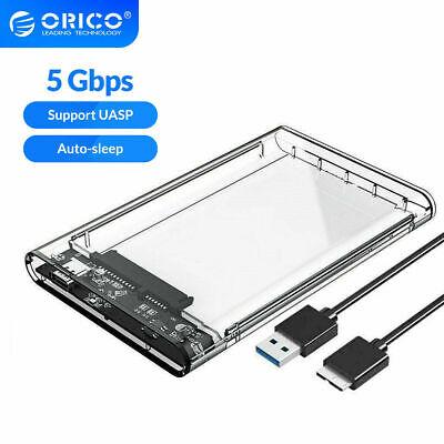 "2.5"" USB 3.0 SATA Box SSD Hard Disk Drive External Enclosure Transparent Case"