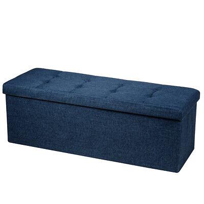 Fabric Folding Storage Ottoman Storage Chest W/Divider Bed End Bench Navy