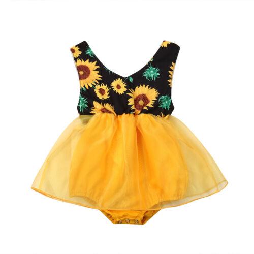 US Stock Newborn Infant Baby Girl Romper Sunflower Jumpsuit