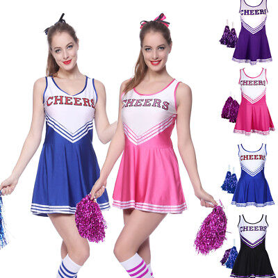 High School Girls Musical Cheer Cheerleader Uniform Costume Outfit Pompoms Pro - Girls Cheer Costume
