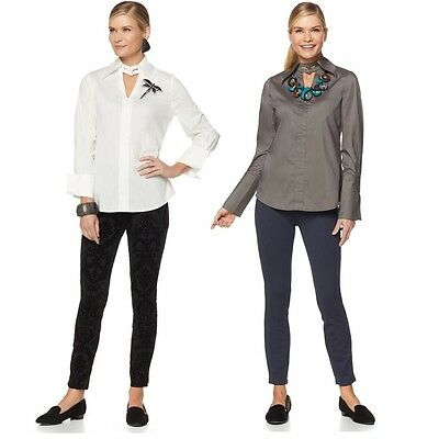 Rara Avis By Iris Apfel Collared Shirt With Bell Sleeves 502475C  S Gray   49 90