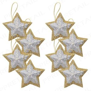 8 x GLITTER SILVER & GOLD CHRISTMAS STARS Tree/Tinsel/Garland Hanging Baubles