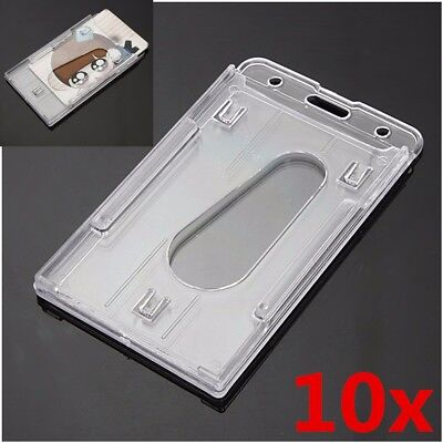 10pcs Transparent Vertical Hard Plastic Double Card Id Badge Business Holder
