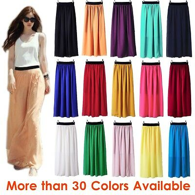 Women Double Layer Chiffon Pleated Retro Long Maxi Dress Elastic Waist Skirt New