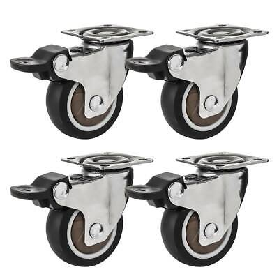 4 Pack 2 Low Profile Swivel Plate With Brake Black Rubber Caster Wheels